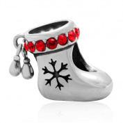 Choruslove Genuine 925 Sterling Silver Christmas Stocking Red Crystal Charm Bead for European Bracelets
