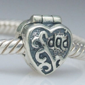 925 Solid Silver Father's Day Charms Jewellery Clip Lock Stopper Bead Fit Pandora Bracelet