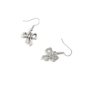 1 Pairs Jewellery Making Antique Silver Tone Earring Supplies Hooks Findings Charms M7RG1 Bowknot Bow Tie Bowtie