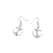 2 Pairs Jewellery Making Antique Silver Tone Earring Supplies Hooks Findings Charms S8XD5 Love Boat Anchor