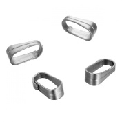 HooAMI Silver Tone Stainless Steel Pinch Clips Bail Connectors Jewellery Findings 6mmx2.5mm,50pcs