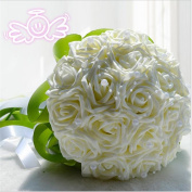 Hestian 18pcs Rose Pearls Chains Chains Stain Ribbon Handle Bridal Wedding Bouquet Silk Rose Hand Tie