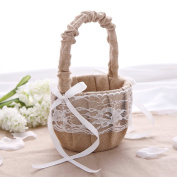 KateMelon Wedding Accessories Rustic Burlap and Lace Flower Girl Basket