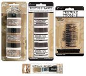 Ranger - Tim Holtz - 6 Mini-Size Collage & Texture Pastes with Tools Bundle