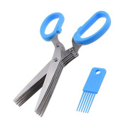 Herb Scissors Multipurpose Kitchen Shears 5 Extremely Sharp Stainless Steel Blades Handy Cleaning Comb Multi Blade Time-Saving Cut Slice Chop Herbs Fast