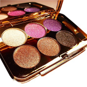 Bolaxin Womens Elegant Ladies Waterproof 6 Colours Make UP Glitter Eyeshadow Palette with Brush