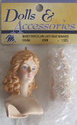 """MANGELSEN'S Craft 1 SET of 'MARTY' PORCELAIN LADY DOLL HEAD 45 MM (Measured 2-1/4"""") and PAIR of HANDS Each 1-3/4"""" Long w Moulded REDDISH BLONDE HAIR & Ornament LOOP"""