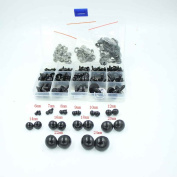 154pcs 6-24mm Black Plastic Safety Eyes for Teddy Bear Doll Animal Puppet Crafts All in One Box