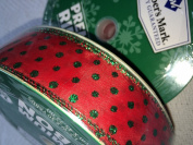 Members Mark Premium Ribbon Red with Green Glitter Ribbon- Wired Edge, 3.8cm by 50-Yards
