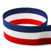 1.6cm Red/White/Blue Striped Grosgrain Ribbon - 100 Yards - USA Made -