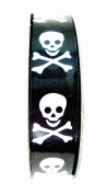 Jo-ann's Halloween Skeleton & Crossbones Ribbon,black,white,1.6cm x 3yds.