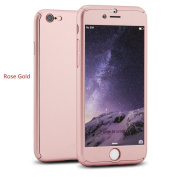 iPhone 5/5s Full Body Case-Superstart Rose Gold Ultra Slim Front and Back PC Hard Cover + Tempered Glass Sreen Protector for iPhone 5/5s