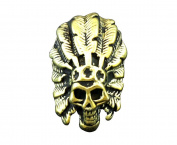 Brass Skull American Tribal Chief Screwback Screw Eye Concho Leathercraft LC3