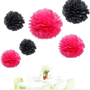 Since . 12Pcs of 20cm 25cm 36cm 3 Colours Mixed Black and Hot pink Pink Grey Tissue Paper Flowers, Tissue Paper Pom Poms, Wedding Decor, Party Decor, Pom Pom Flowers, Tissue Paper, Tissue Paper Flowers Kit, Pom Poms Craft, Wedding Pom Poms, Pom Poms De ..