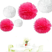 Since . 12Pcs of 20cm 25cm 36cm 3 Colours Mixed White and Hot Pink Tissue Paper Flowers, Tissue Paper Pom Poms, Wedding Decor, Party Decor, Pom Pom Flowers, Tissue Paper, Tissue Paper Flowers Kit, Pom Poms Craft, Wedding Pom Poms, Pom Poms Decoration