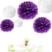 Since . 12Pcs of 20cm 25cm 36cm 3 Colours Mixed White and Purple Tissue Paper Flowers, Tissue Paper Pom Poms, Wedding Decor, Party Decor, Pom Pom Flowers, Tissue Paper, Tissue Paper Flowers Kit, Pom Poms Craft, Wedding Pom Poms, Pom Poms Decoration