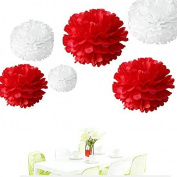 Since . 12Pcs of 20cm 25cm 36cm 3 Colours Mixed White and Red Tissue Paper Flowers, Tissue Paper Pom Poms, Wedding Decor, Party Decor, Pom Pom Flowers, Tissue Paper, Tissue Paper Flowers Kit, Pom Poms Craft, Wedding Pom Poms, Pom Poms Decoration
