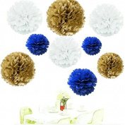Since . 18Pcs of 20cm 25cm 36cm 3 Colours Mixed Gold White Royal Blue Tissue Paper Flowers, Tissue Paper Pom Poms, Wedding Decor, Party Decor, Pom Pom Flowers, Tissue Paper, Tissue Paper Flowers Kit, Pom Poms Craft, Wedding Pom Poms, Pom Poms Decoration
