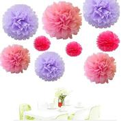Since . 18Pcs of 20cm 25cm 36cm 3 Colours Mixed Lavender Pink Fuchsia Tissue Paper Flowers, Tissue Paper Pom Poms, Wedding Decor, Party Decor, Pom Pom Flowers, Tissue Paper, Tissue Paper Flowers Kit, Pom Poms Craft, Wedding Pom Poms, Pom Poms Decoration