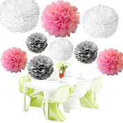 Since . 18Pcs of 20cm 25cm 36cm 3 Colours Mixed White Pink Grey Tissue Paper Flowers, Tissue Paper Pom Poms, Wedding Decor, Party Decor, Pom Pom Flowers, Tissue Paper, Tissue Paper Flowers Kit, Pom Poms Craft, Wedding Pom Poms, Pom Poms Decoration
