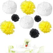 Since . 18Pcs of 20cm 25cm 36cm 3 Colours Mixed White Yellow Black Tissue Paper Flowers, Tissue Paper Pom Poms, Wedding Decor, Party Decor, Pom Pom Flowers, Tissue Paper, Tissue Paper Flowers Kit, Pom Poms Craft, Wedding Pom Poms, Pom Poms Decoration