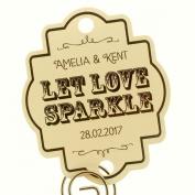 Summer-Ray.com 48 Personalised Cream Vintage Wedding Sparklers Tags Let Love Sparkle