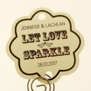 Summer-Ray.com 48 Personalised Cream Vintage Scallop Wedding Sparklers Tags Let Love Sparkle