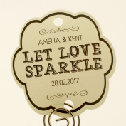 Summer-Ray.com 48 Personalised Cream Vintage Shabby I Wedding Sparklers Tags Let Love Sparkle