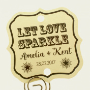 Summer-Ray.com 48 Personalised Cream Vintage Square Wedding Sparklers Tags Let Love Sparkle