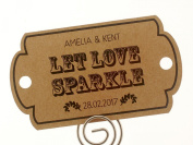 Summer-Ray.com 48 Personalised Kraft Vintage II Horizon Wedding Sparklers Tags Let Love Sparkle