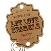 Summer-Ray.com 48 Personalised Kraft Vintage Wedding Sparklers Tags Let Love Sparkle