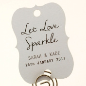 Summer-Ray.com 48 Personalised White Little Violin Wedding Sparklers Tags Let Love Sparkle