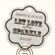 Summer-Ray.com 48 Personalised White Vintage Scallop Wedding Sparklers Tags Let Love Sparkle