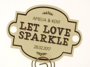 Summer-Ray.com 48 Personalised Cream Vintage III Horizon Wedding Sparklers Tags Let Love Sparkle