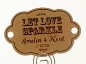 Summer-Ray.com 48 Personalised Kraft Vintage Shabby II (Horizontal) Wedding Sparklers Tags Let Love Sparkle