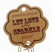 Summer-Ray.com 48 Personalised Kraft Vintage Scallop Wedding Sparklers Tags Let Love Sparkle