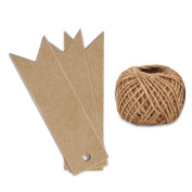 KINGLAKE®100PCS Kraft Paper Gift Tags Wedding Tags 7cm x 2cm with 30 Metres Natural Jute Twine