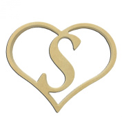 23cm Script Letter S Insert for Home Heart Sign Unfinished DIY Wooden Craft Cutout to Sell Stacked