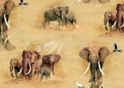 1 Yard - Out of Africia Elephants on Beige Cotton Fabric (Great for Quilting, Sewing, Craft Projects, Quilt, Throw Pillows, Dog Bandana & More) 1 Yard X 110cm