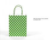 12CT MEDIUM GREEN BIODEGRADABLE, FOOD SAFE INK & PAPER KRAFT BAG WITH coloured STURDY HANDLE
