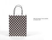 12CT MEDIUM BLACK BIODEGRADABLE, FOOD SAFE INK & PAPER KRAFT BAG WITH coloured STURDY HANDLE
