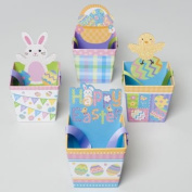 TREAT BOX GLITTER PAPER PAIL W/ EASTER/SPRING ICONS & RIBBON HDL, Case Pack of 24