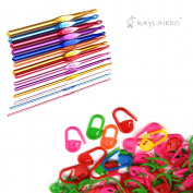 RayLineDo® 14pcs Multicolour Aluminium Crochet Hook Knitting Needles Set In Defferent Sizes