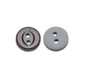 Yongshida 10mm Diameter White Concave Round Shape 2 Holes Scrapbooking Sewing Toggle Wood Buttons Pack of 50
