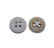 Yongshida 11mm Diameter White and Golden Concave Round Shape 4 Holes Scrapbooking Sewing Toggle Wood Buttons Pack of 50