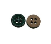 Yongshida 12mm Diameter Green Round Shape 4 Holes Scrapbooking Sewing Toggle Wood Buttons Pack of 50