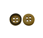 Yongshida 12mm Diameter Yellow and Black Concave Round Shape 4 Holes Scrapbooking Sewing Toggle Wood Buttons Pack of 50