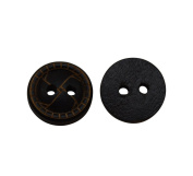 Yongshida 13mm Diameter Black Convex Round Shape 4 Holes Scrapbooking Sewing Toggle Wood Buttons Pack of 50