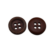 Yongshida 13mm Diameter Brown Concave Round Shape 4 Holes Scrapbooking Sewing Toggle Wood Buttons Pack of 50