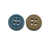Yongshida 13mm Diameter Light Blue Round Shape 4 Holes Scrapbooking Sewing Toggle Wood Buttons Pack of 50